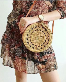 model carrying 2018 limited edition Bali artisan rattan straw crossbody bag