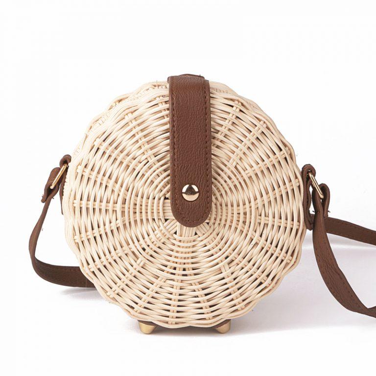 summer beach bali rattan straw round handbag