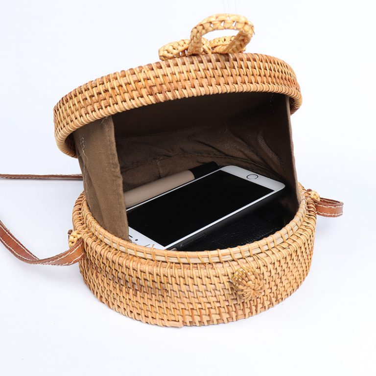 summer bali rattan straw cross body bag