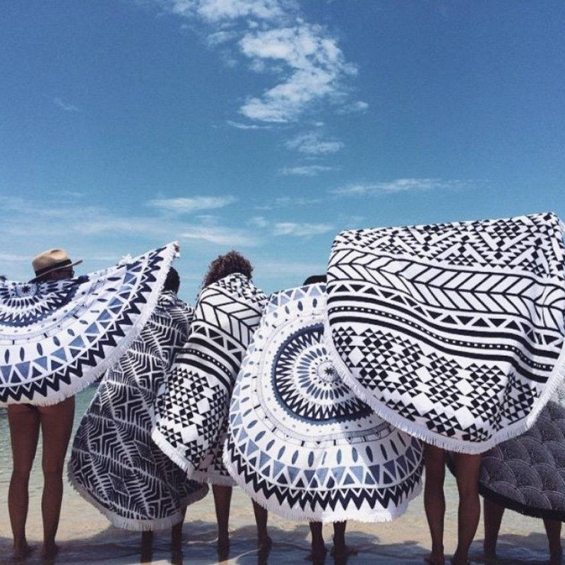 fashionable bohemian style summer round beach towel