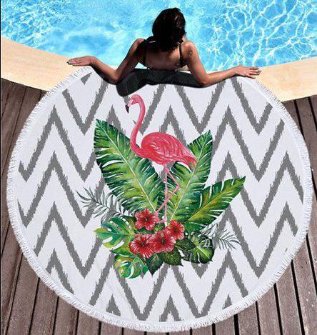 caribbean flamingo island round beach towel