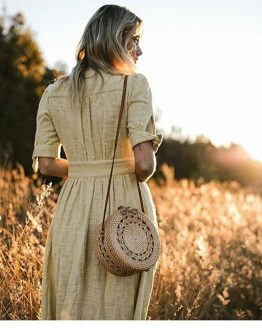 model carrying 2018 limited edition Bali artisan rattan straw crossbody bag