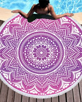 fashionable bohemian mandala style summer round beach towel