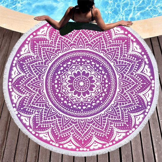 fashionable bohemian mandala style summer round beach towel